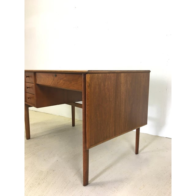 Brown Drexel Parallel Walnut Extension Desk by Barney Flagg For Sale - Image 8 of 9