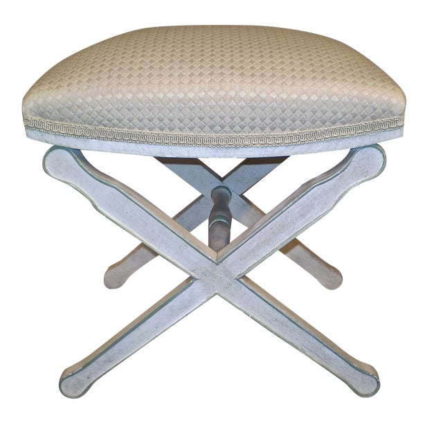 Upholstered X-Base Stool - Image 1 of 4