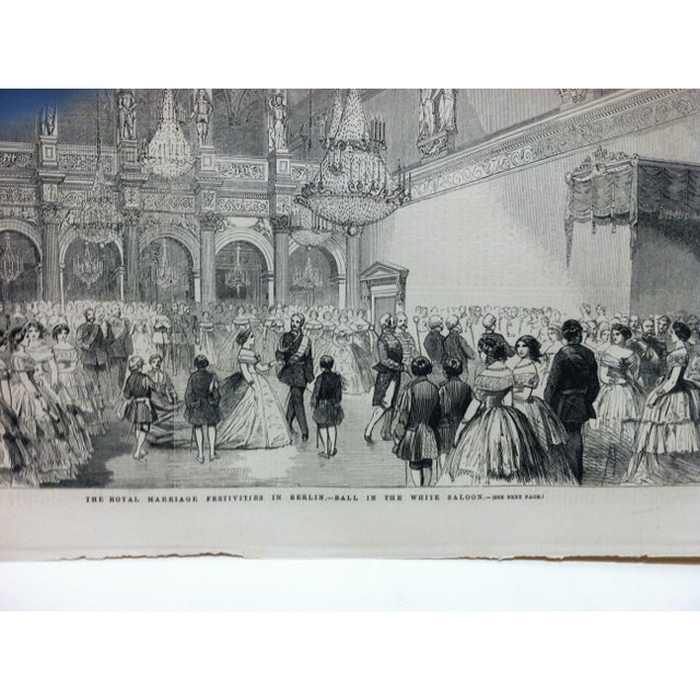 """English Traditional Mid 19th Century Antique """"The Royal Marriage Festivities in Berlin"""" Print For Sale - Image 3 of 5"""