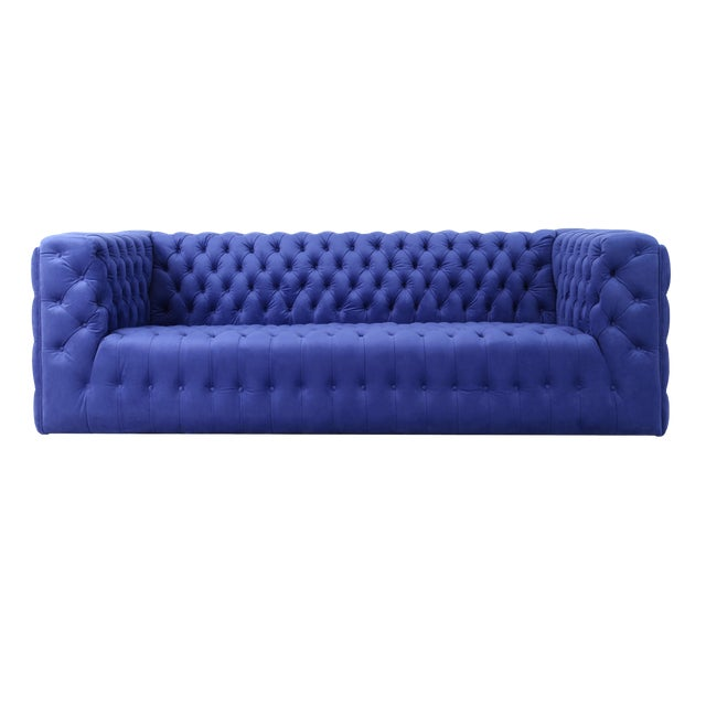 Pasargad Home Vicenza Collection Velvet Tufted Sofa, Blue For Sale