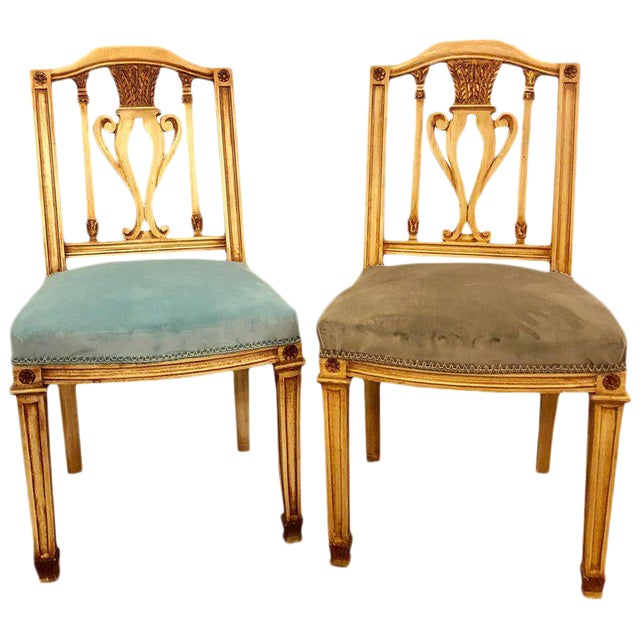 A set of 24 dining chairs comprising two different seat covers both newly done. 12 Turquoise and 12 grey /green painted...