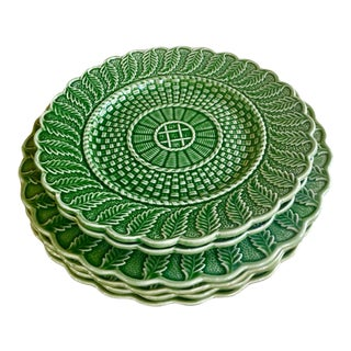 Vintage Italian Green Majolica Chargers & Dinner Plates - Set of 6 For Sale