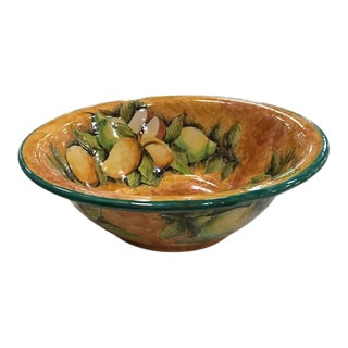 Majolica Pottery Salad Bowl With Pears For Sale