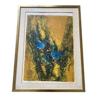 "Framed Hoi Lebadang ""Blue Birds"" Signed and Numbered Lithograph For Sale"
