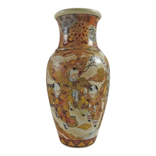 Antique Hand Painted Satsuma Vase For Sale