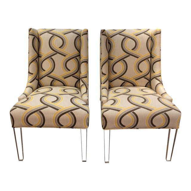 Modern Chairs on Acrylic Legs - a Pair For Sale