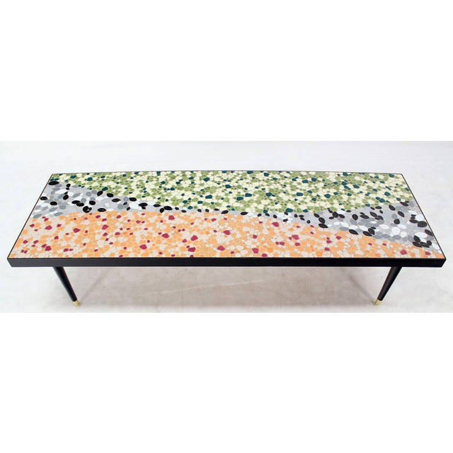 Mid-Century Modern Art Mosaic-Top Long Rectangular Table For Sale - Image 6 of 8