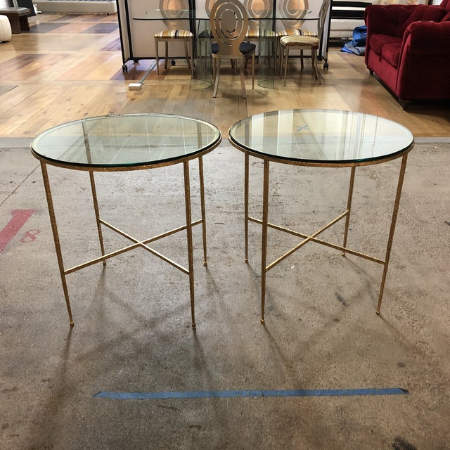 Pair of Custom Gold Finish Round Side Tables For Sale - Image 4 of 12