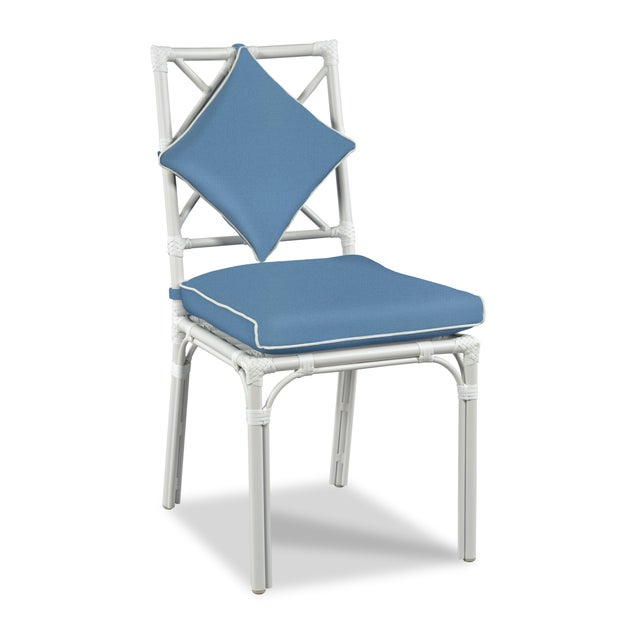 Traditional Haven Outdoor Dining Chair, Sapphire and White For Sale - Image 3 of 3