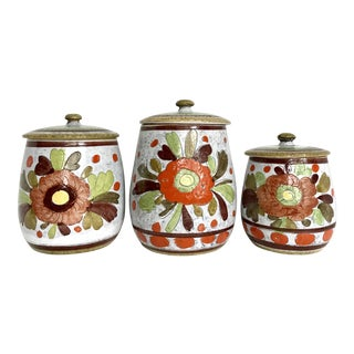 Italian Mid Century Handmade Pottery Canisters - Set of 3 For Sale