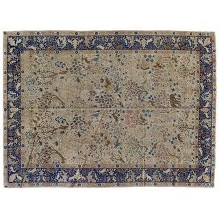 Antique Tabriz Pictorial Wool Rug - 9′4″ × 12′4″ For Sale
