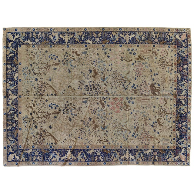 Antique Tabriz Pictorial Wool Rug - 9′4″ × 12′4″ For Sale