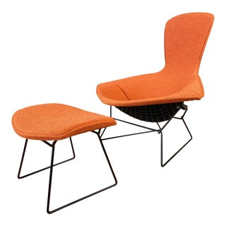 Vintage Harry Bertoia for Knoll Bird Chair and Ottoman With New Covers, 1980s For Sale