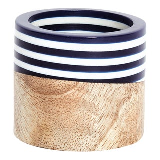 Navy Wood and Resin Napkin Ring For Sale