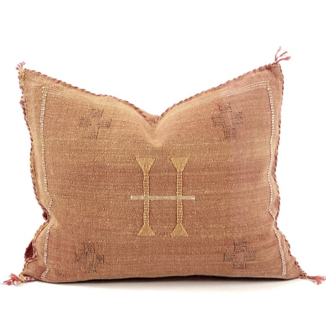 Contemporary Rust & White Cactus Silk Pillow For Sale - Image 3 of 3