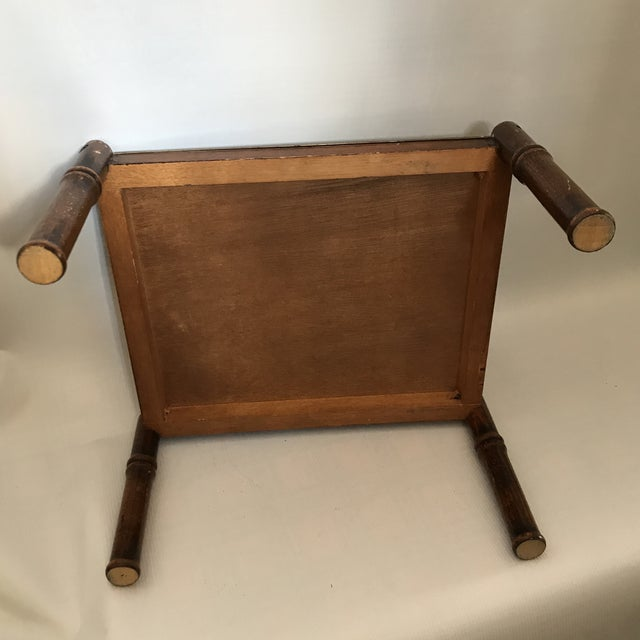 Vintage Brass and Faux Bamboo Stand For Sale - Image 4 of 8