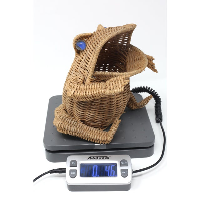Vintage Wicker Frog Basket With Glass Marble Eyes For Sale - Image 10 of 11