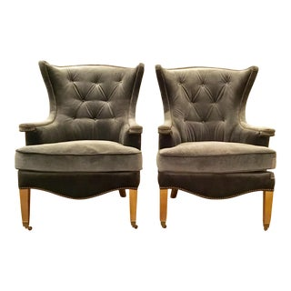 Regina Andrews Gray Velvet Estate Chairs - a Pair For Sale