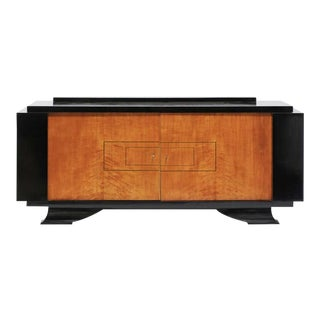 De Coène Frères Brutalist Period Stained Oak Sideboard with Contrasting Colors For Sale