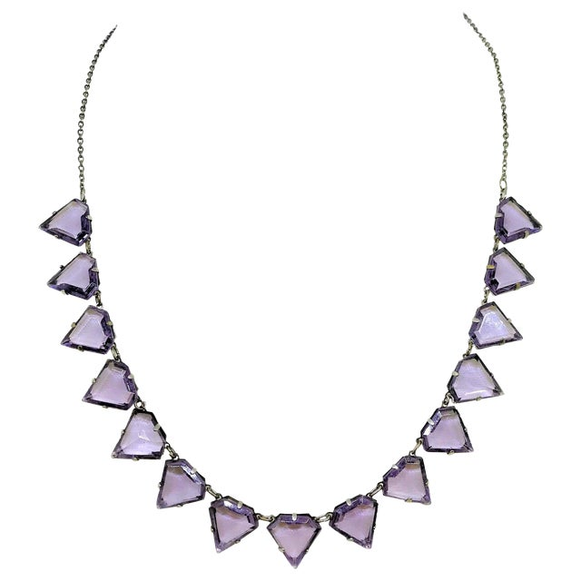 Art Deco Triangular Faceted Purple Glass Necklace For Sale