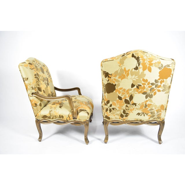Custom Louis XVI Style Lounge Chairs with Rubelli Fabric - A Pair For Sale In Dallas - Image 6 of 9