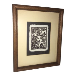 Medieval Woodcut Framed Artwork by Marque De Martin For Sale