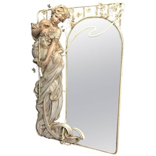 Cote of France Art Nouveau Style Life-Size Woman Mirror For Sale