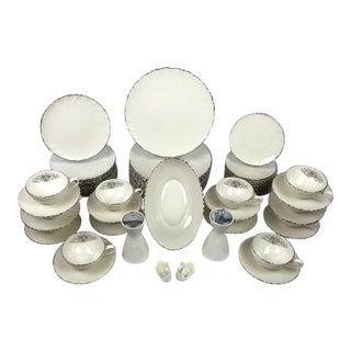 Elegant 'Weatherly' by Lenox Swirled Platinum Dinnerware Set - Service for 12 For Sale