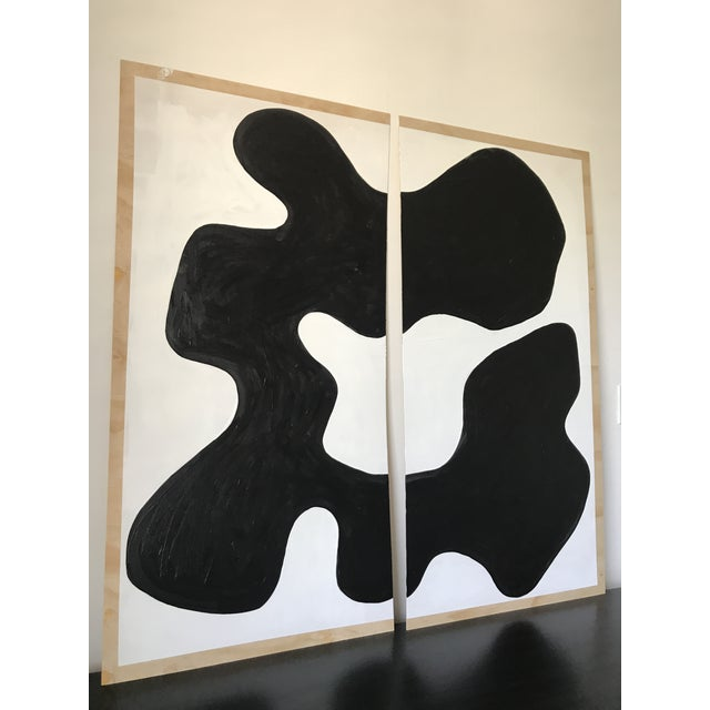 Abstract Abstract Magnolia Monochrome Diptych Oversized Paintings - 2 Pc. For Sale - Image 3 of 13