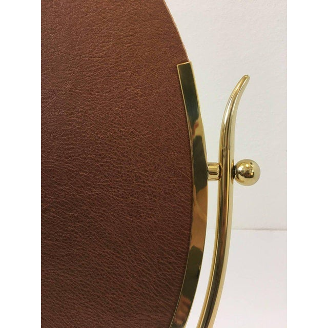 Gold Polish Brass and Leather Vanity Mirror by Charles Hollis Jones For Sale - Image 8 of 11