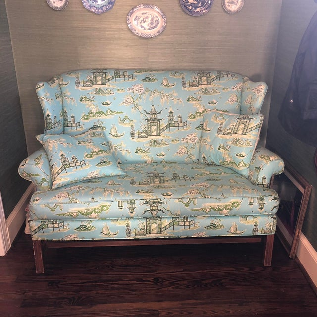 Sophisticated and playful loveseat with matching pillows. Purchased this newly reupholstered from a boutique before we...