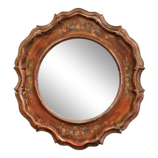 Mid-20th Century Italian Carved Hand Painted Wall Mirror With Floral Decor For Sale