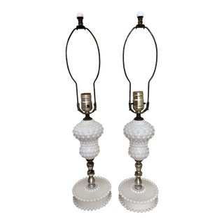 Hobnail Milk Glass Lamps - a Pair For Sale