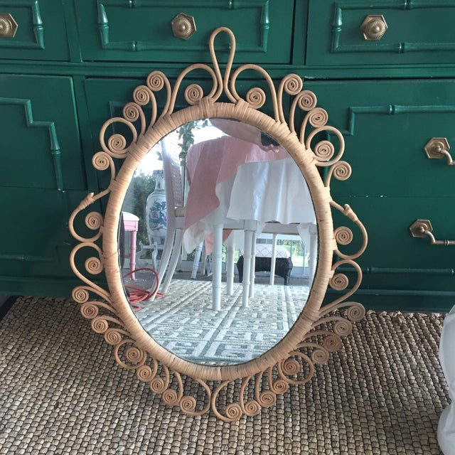 Vintage Rattan Peacock Coiled Oval Mirror - Image 2 of 11