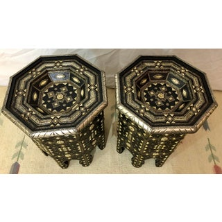 Moroccan Ebonized Wood With White Brass and Bone Inlaid Tables - a Pair Preview