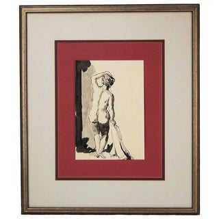 Vintage Mid-Century Backside of Nude Woman Holding Towel India Ink Watercolor Painting For Sale