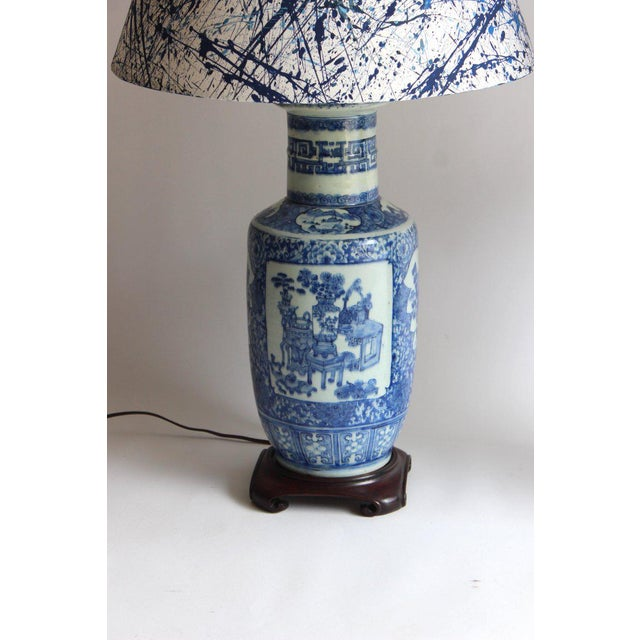 Late 19th Century Pair of 19th Century Chinese Blue and White Vase Lamps For Sale - Image 5 of 10