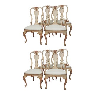 Eight Painted Rococo Style Dining Chairs