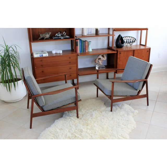 1960s 1960s Vintage Danish Modern Kofod Larsen for Selig Walnut Lounge Chairs- a Pair For Sale - Image 5 of 10