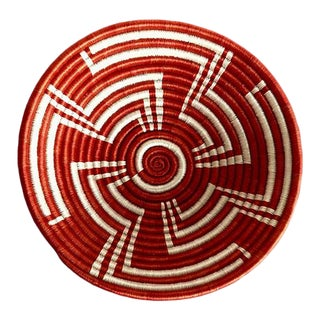 Red & White African Basket For Sale