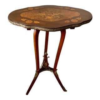 French Marquetry Inlay on Walnut Side Table For Sale