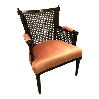 Restored, Carved and Caned Armchair, Black Lacquer Finish For Sale