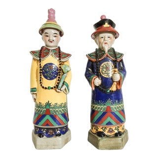 Fabulous Chinoiserie Emperor Statues, Pair
