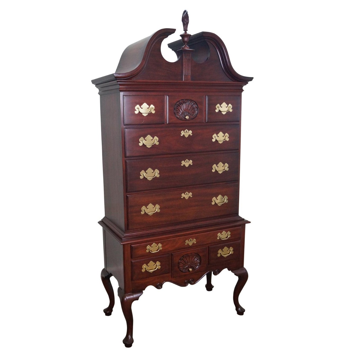 Henkel Harris Solid Mahogany Queen Anne Highboy Chest