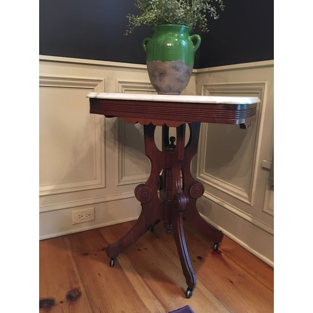 Traditional Eastlake Victorian Marble Top Table For Sale - Image 3 of 7