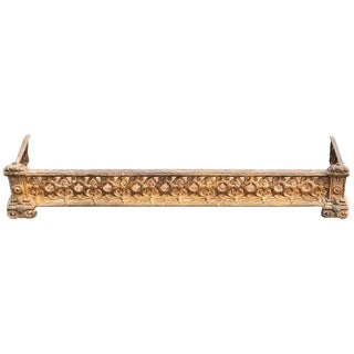 Gothic Gilt Iron Fireplace Fender For Sale