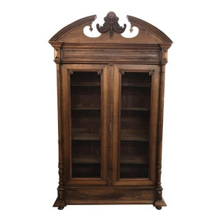 19th Century French Neoclassical Walnut Bibliotheque For Sale