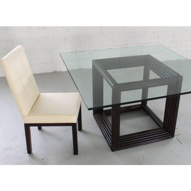 Mid-Century Modern Large Square Thick Glass Top Rattan Cube Base Dining Conference Table For Sale - Image 3 of 13