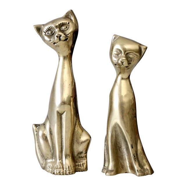 Mid-Century Brass Cat Figurines - A Pair For Sale
