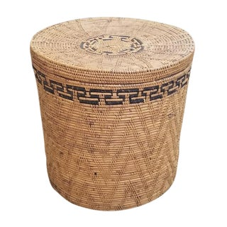 Hand Woven Ata Woven Reed Lidded Basket For Sale